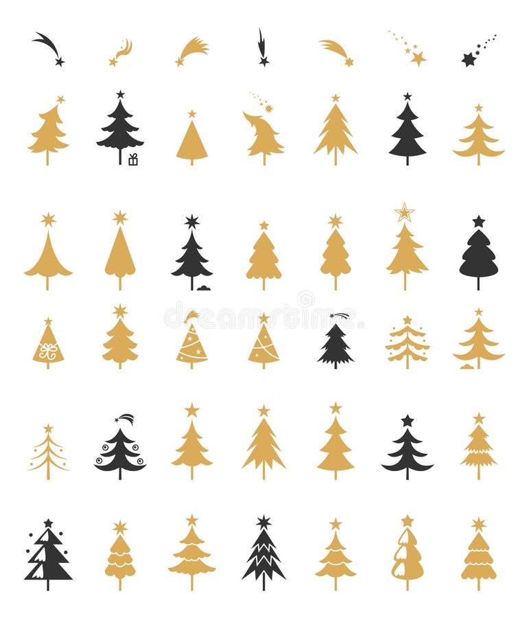 Het ontwerpvector van het kerstboomsilhouet royalty-vrije illustratie
