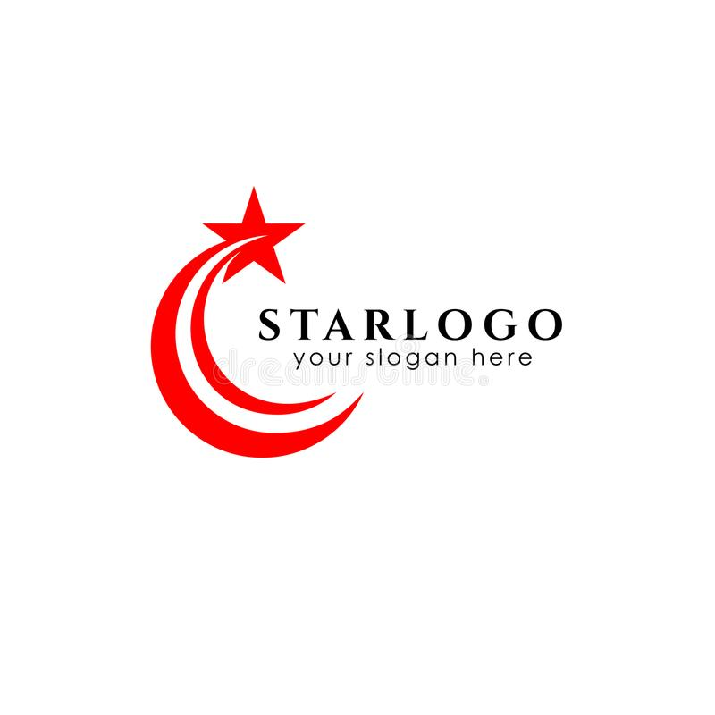 het ontwerpvoorraad van het sterembleem met swoosh stock illustratie