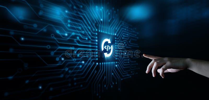 Het ontwikkelen van van het de Commerciële van de Programmeringscodage het Concept Technologienetwerk van Internet stock foto
