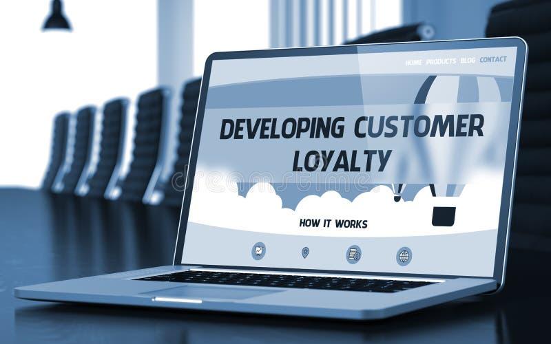 Het ontwikkelen van Klantenloyaliteit op Laptop in Conferentiezaal 3d royalty-vrije stock foto