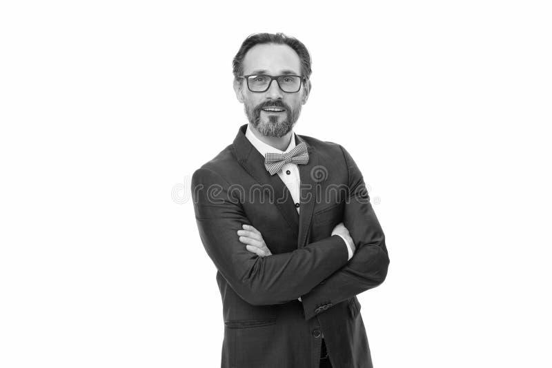 Het ontwikkelen van nieuw project Gebaarde mens Rijpe hipster met baard Zakenman in kostuum Het ontwikkelen van nieuwe approache  royalty-vrije stock fotografie