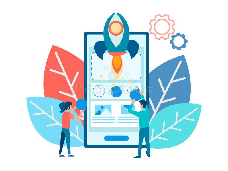 Het ontwikkelen zich van mobiel toepassingsontwerp stock illustratie