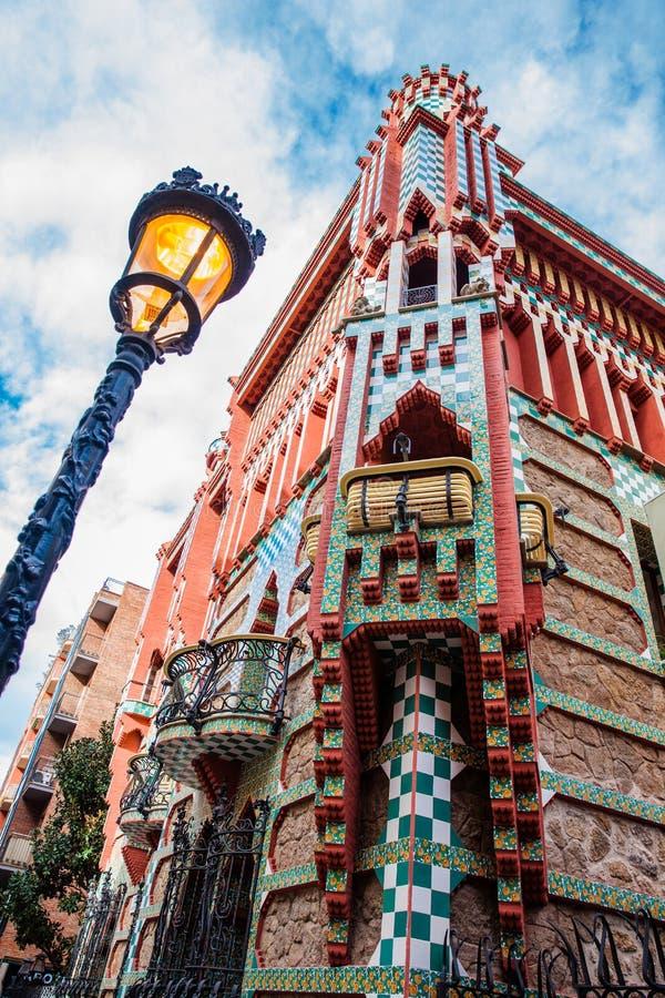 Het ontworpen Vicens Huis van Antoni Gaudi ` s stock afbeeldingen