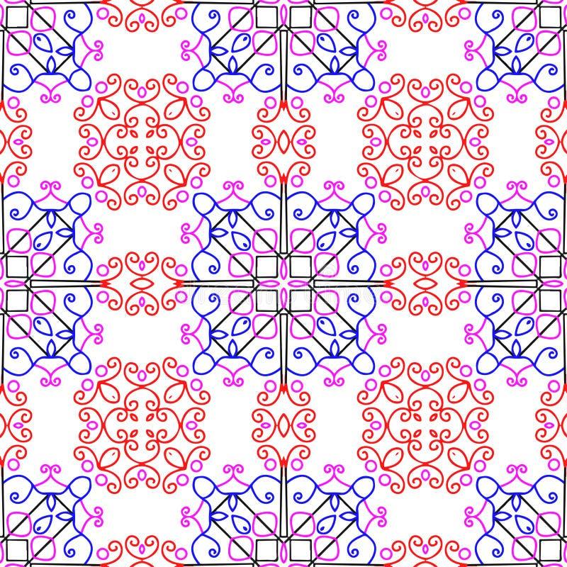 Het ontzagwekkende bloemenpatroon digitale ontwerp leidde tot in gespecialiseerde software voor grafische middelen voor het helpe stock illustratie
