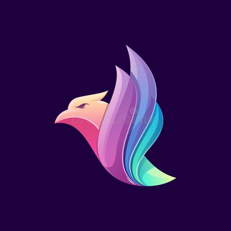 Het ontzagwekkende kleurrijke ontwerp van het vogelembleem royalty-vrije illustratie