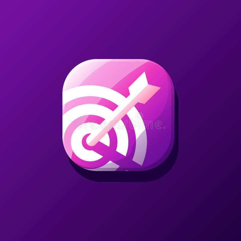 Het ontzagwekkende ontwerp van het doelpictogram voor app royalty-vrije illustratie