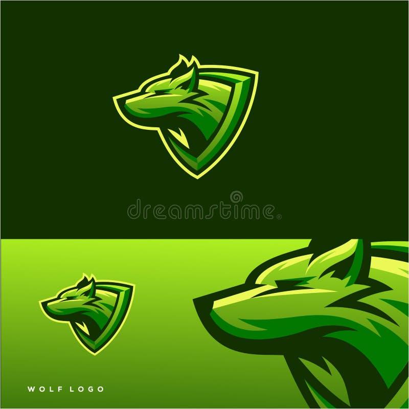 Het ontzagwekkende ontwerp van het wolfsembleem vector illustratie