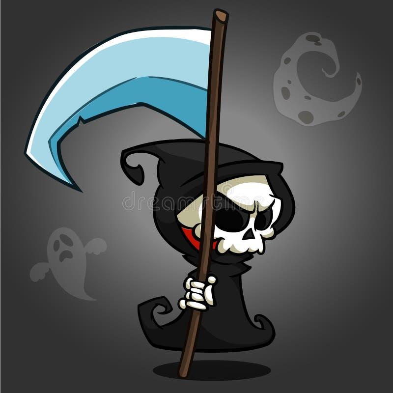 Het onverbiddelijke karakter van het maaimachinebeeldverhaal met zeis op een witte achtergrond Leuk doodskarakter in zwarte kap stock illustratie