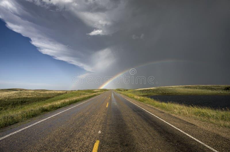Het Onweer en de Regenboog van de Hagel van de prairie royalty-vrije stock fotografie