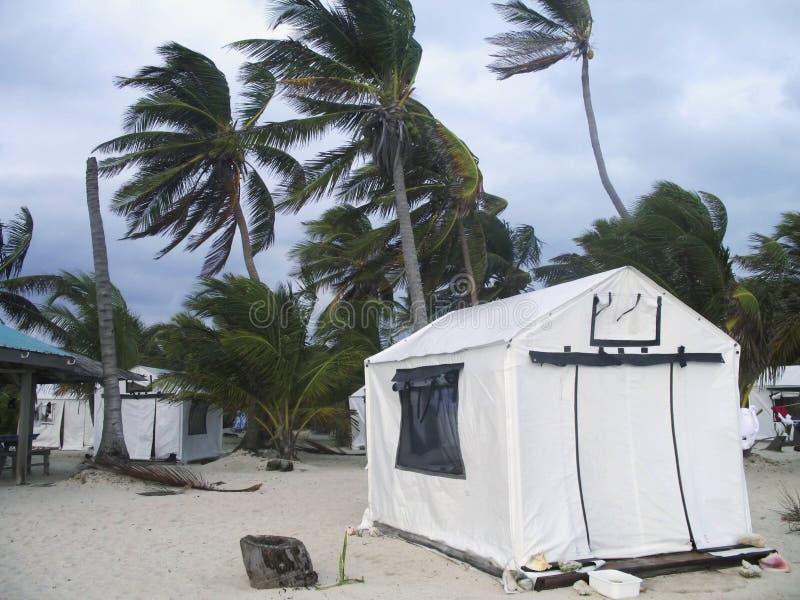 Het onweer met hoge winden raakte eiland in Belize royalty-vrije stock afbeeldingen