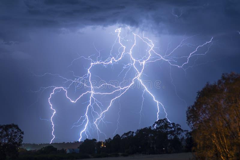 Het Onweer van de verlichting in Australië stock fotografie