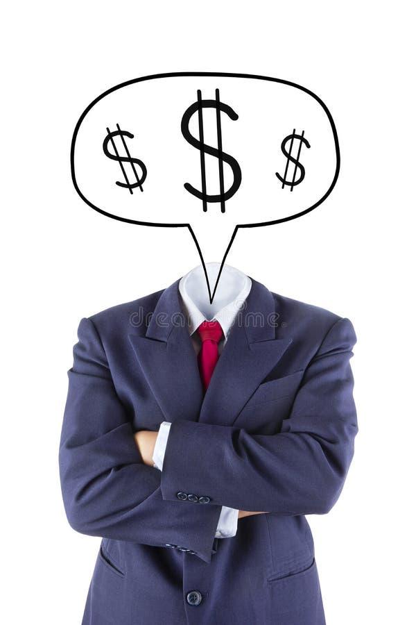 Het onzichtbare zakenmanhoofd denkt over geld royalty-vrije stock foto