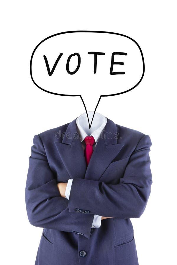 Het onzichtbare zakenmanhoofd denkt voor stem stock foto