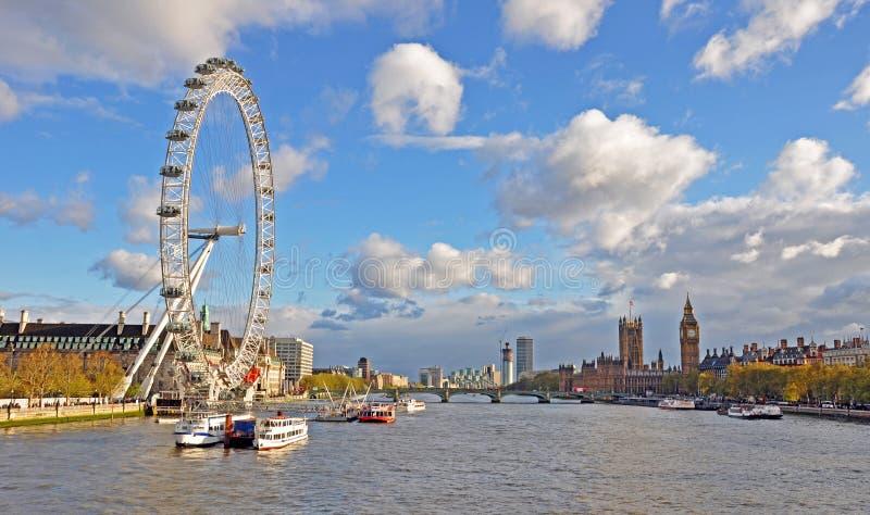 Het oog Ferris Wheel van Londen stock foto