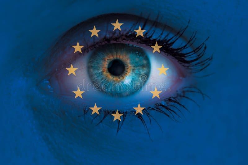 Het oog kijkt door de vlag van Achtergrond Europa conceptenmacro royalty-vrije stock afbeeldingen