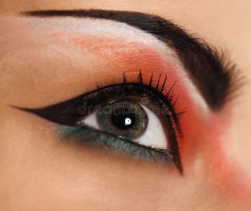 Het oog maakt omhoog De mooie ogen schitteren omhoog maken stock foto's