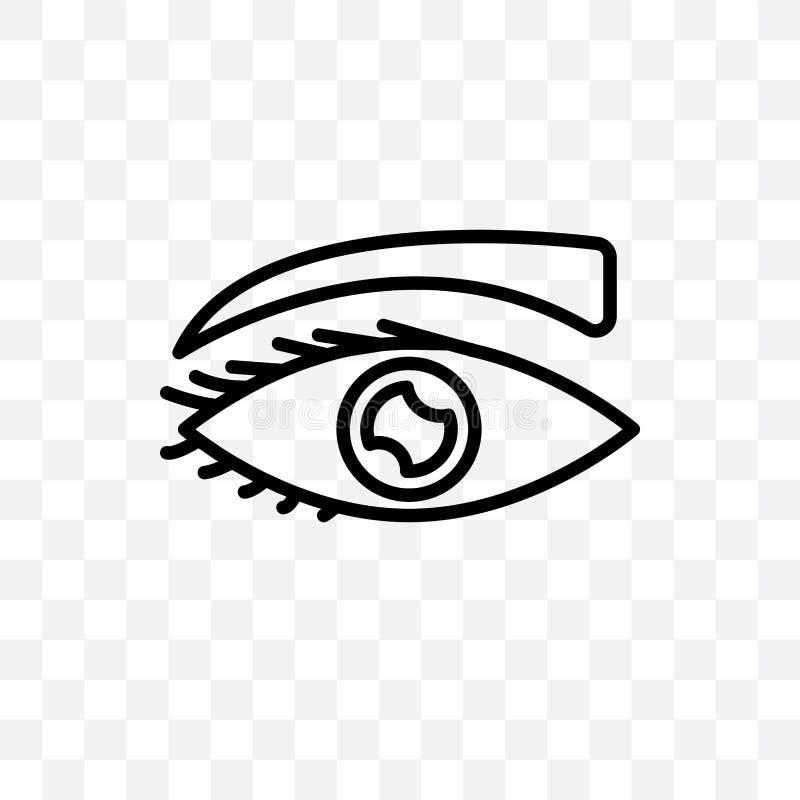 Het oog met zwepen vector lineair die pictogram op transparante achtergrond, Oog met het concept van de zwepentransparantie kan w stock illustratie