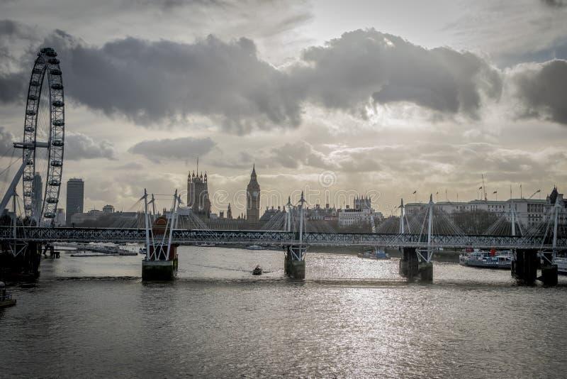 Het Oog van de Big Ben en van Londen stock afbeeldingen