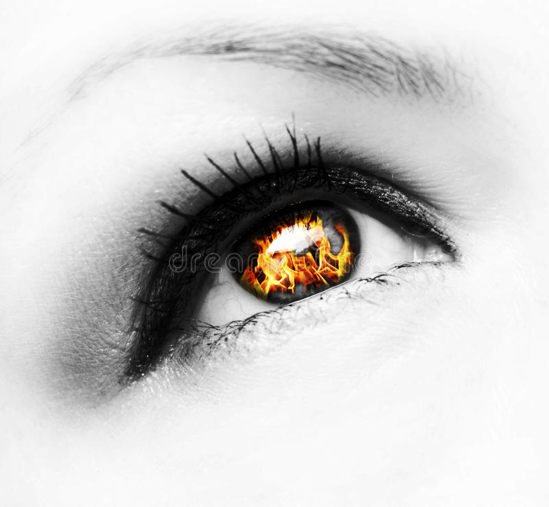 Het oog van de brand stock afbeeldingen