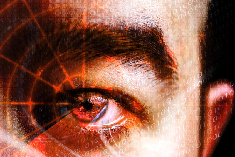 Het Oog van de Misdaad van Cyber stock foto