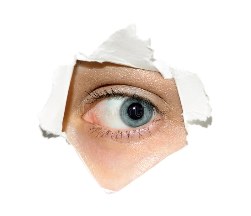 Het oog van de spion stock afbeelding