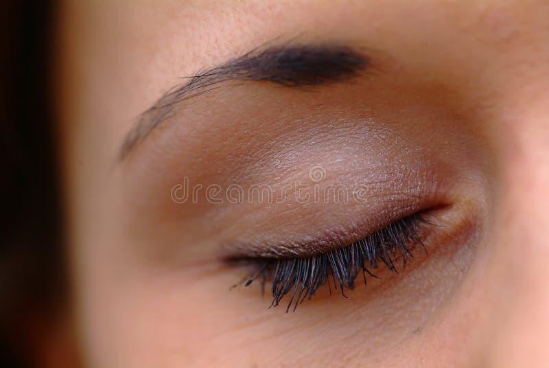 Het oog van de vrouw stock foto