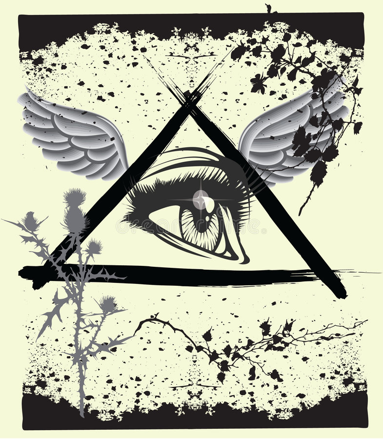 Het oog van Grunge god´s vector illustratie