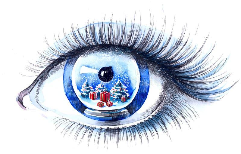 Het oog van Kerstmis stock illustratie