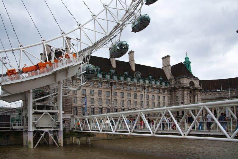 Het oog van Londen, een deel van grote techniekbouw stock fotografie