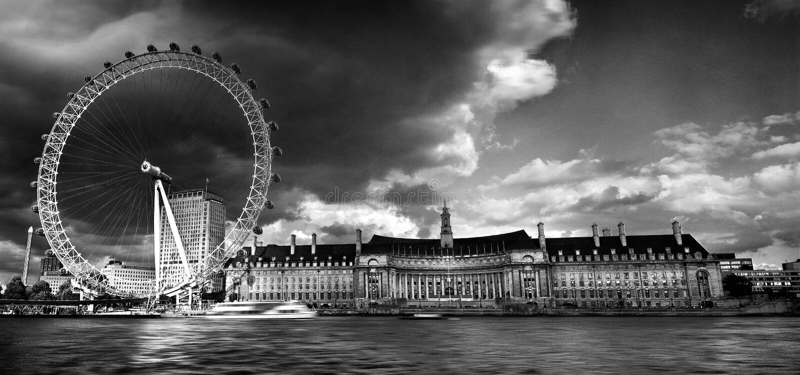 Het Oog van Londen mono stock afbeelding