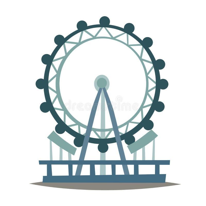 Het oog vectorillustratie van Londen Het oriëntatiepunt van Engeland, van het de stadssymbool van Londen het beeldverhaalstijl stock illustratie