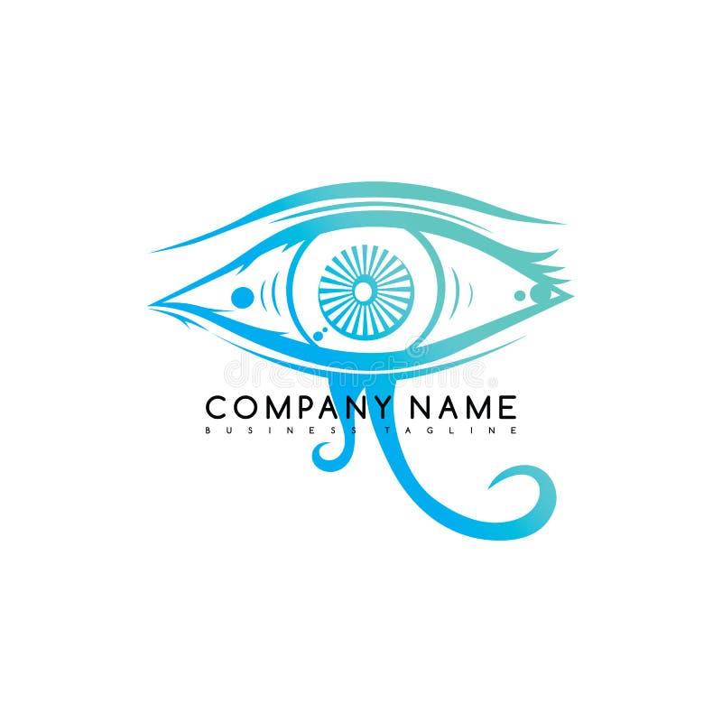het oog ziet ziet het art. van het embleem logotype malplaatje eruit royalty-vrije illustratie