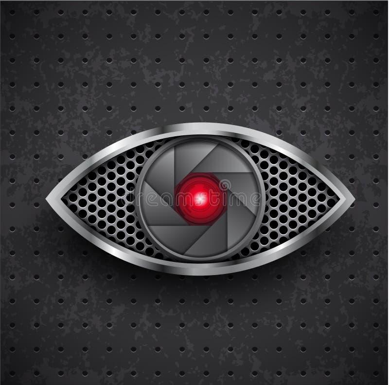 Het oog zwart traliewerk van pictogram rood metall vector illustratie