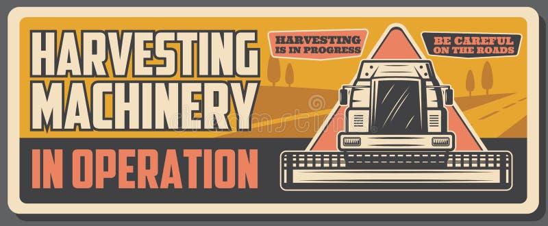 Het oogsten combineren en de landbouwbedrijfmachines, landbouw vector illustratie