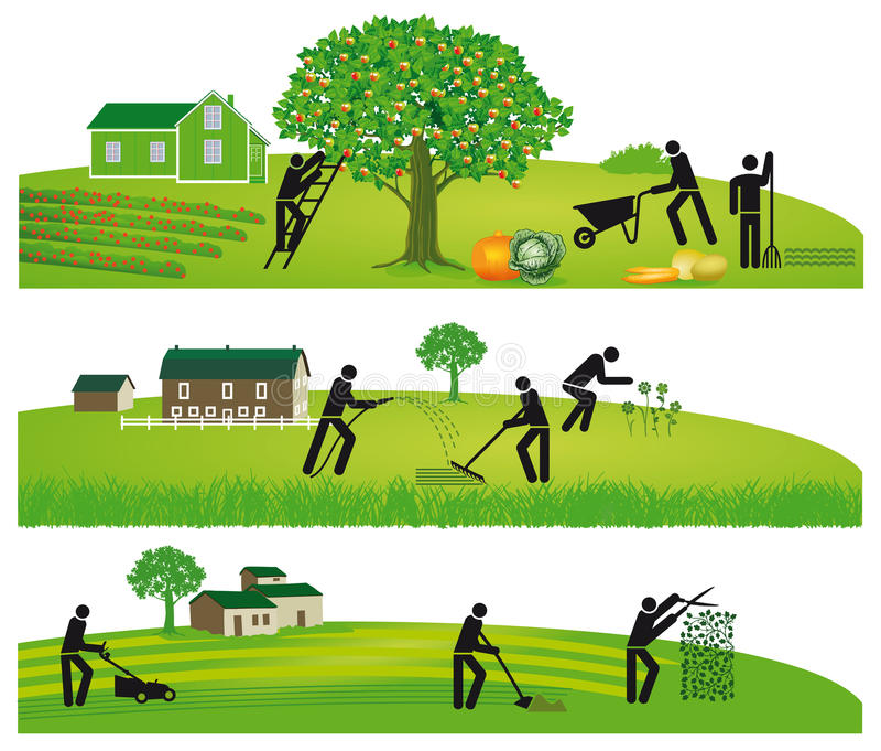 Het oogsten en het tuinieren royalty-vrije stock afbeelding