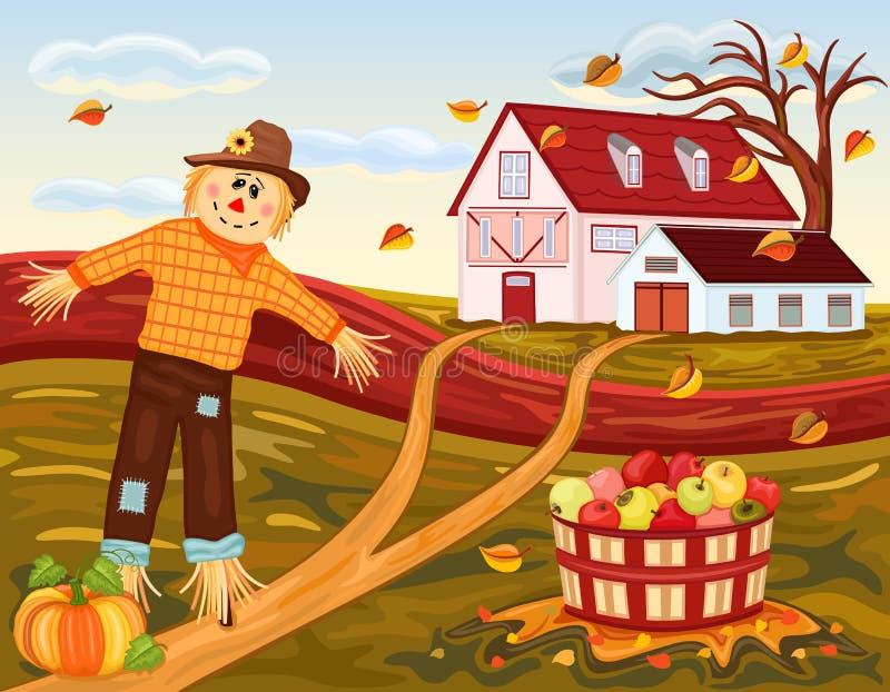 Het oogsten van de herfst bij het landbouwbedrijf vector illustratie