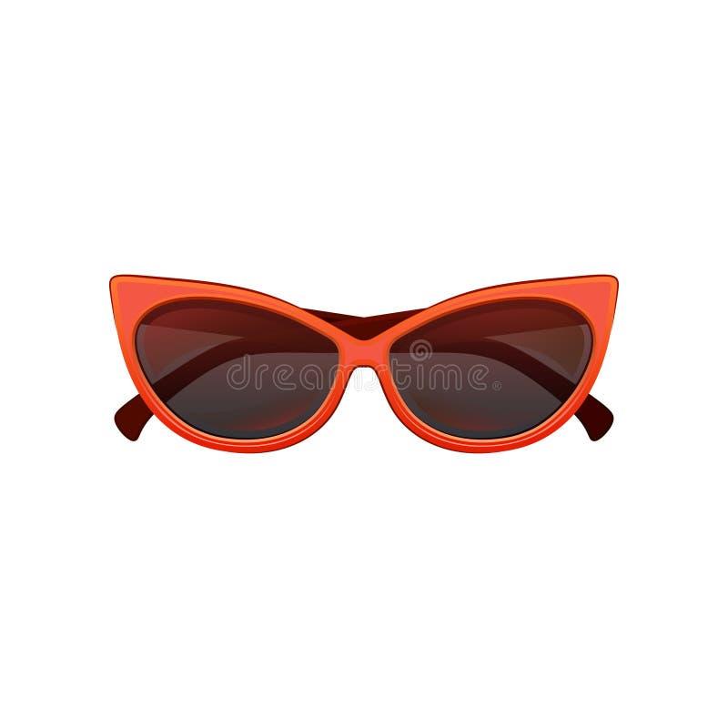 Het oogzonnebril van de glamourkat met zwarte gekleurde lenzen en helder rood plastic kader Modieuze beschermende eyewear voor vr stock illustratie