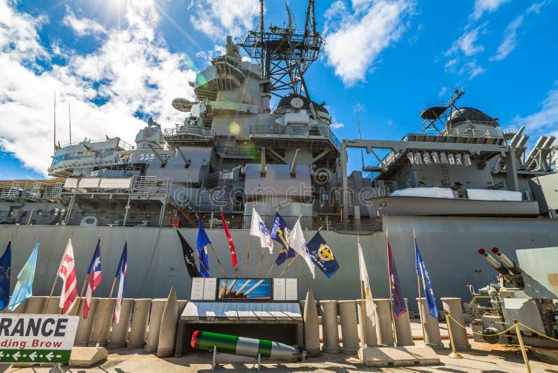 Het oorlogsschip van Missouri radiotower royalty-vrije stock foto