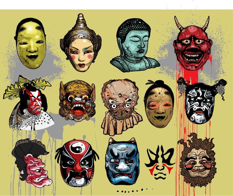 Het oosten - Aziatische maskers royalty-vrije illustratie