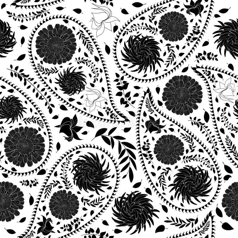 Het oosterse naadloze patroon van Paisley stock illustratie