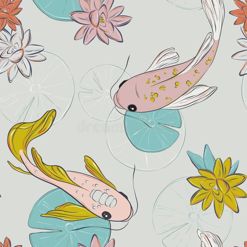 Het oosterse patroon van Koivissen De offerte van de zomervissen nam geel patroon toe Het Japanse gouden ontwerp van de vissen bl stock illustratie