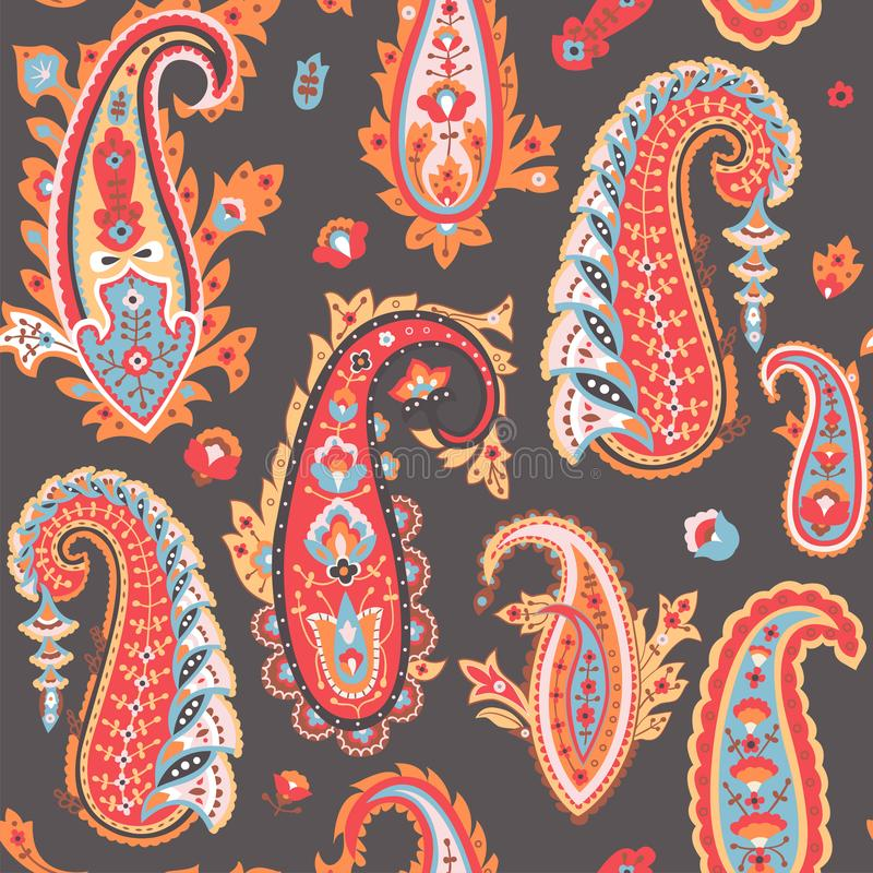 Het oosterse patroon van Paisley Kleurrijk naadloos behang royalty-vrije illustratie