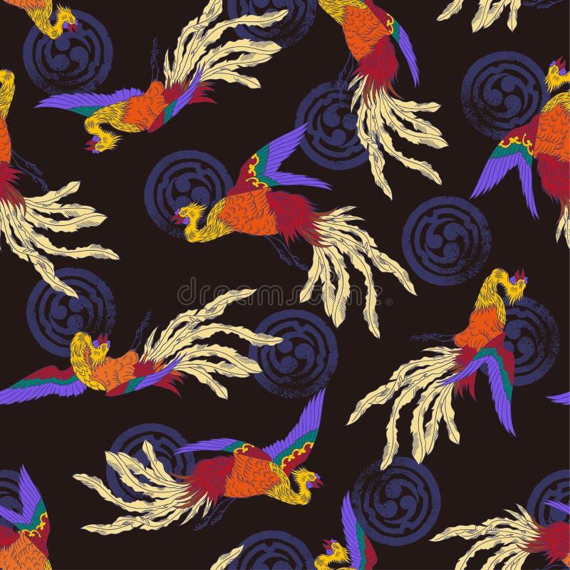 Het oosterse patroon van Phoenix stock illustratie