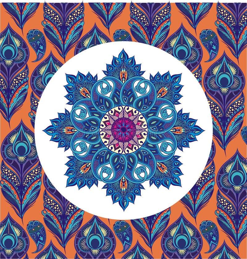 Het oosterse ronde bloemenpatroon van Paisley met pauwveren vector illustratie