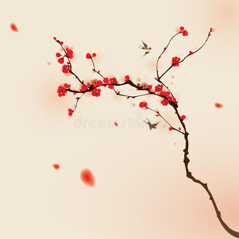 Het oosterse stijl schilderen, pruimbloesem in de lente