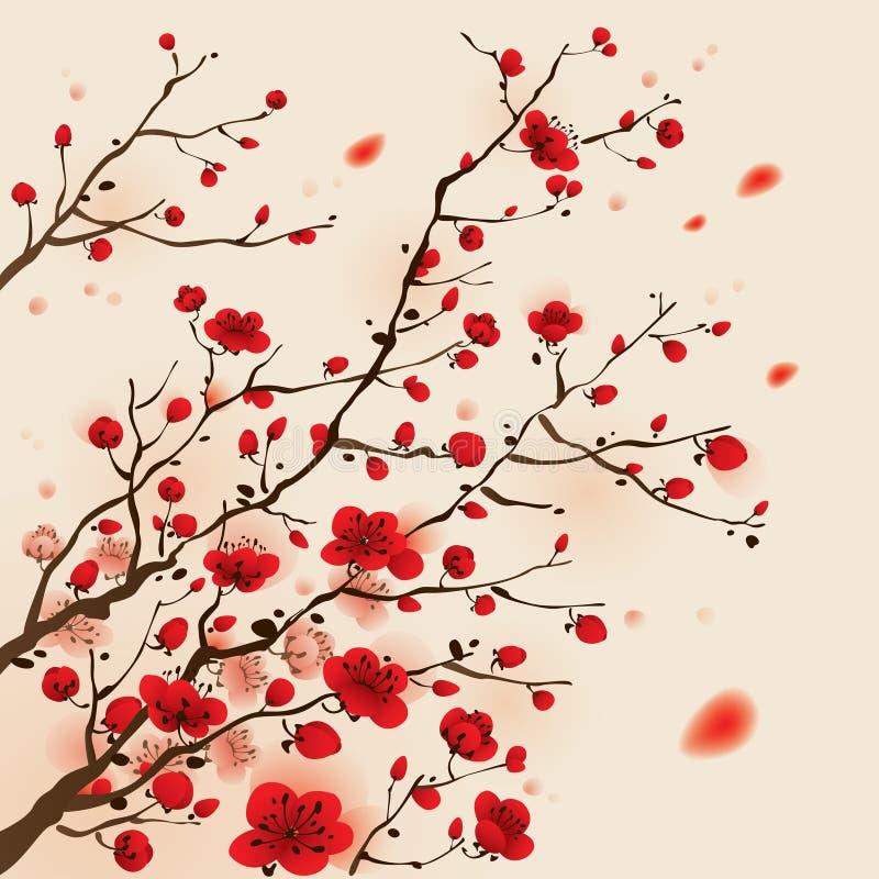 Het oosterse stijl schilderen, pruimbloesem in de lente vector illustratie