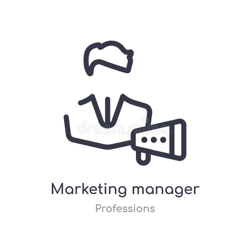 het op de markt brengende pictogram van het manageroverzicht r editable dunne slag marketing royalty-vrije illustratie