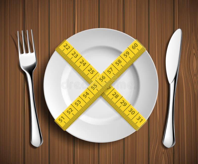 Het op dieet zijn en gewichtsverlies royalty-vrije illustratie