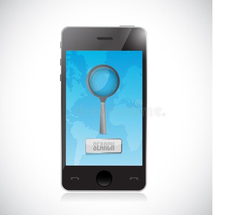 het op zoek zijn naar informatie over een mobiele telefoon royalty-vrije illustratie