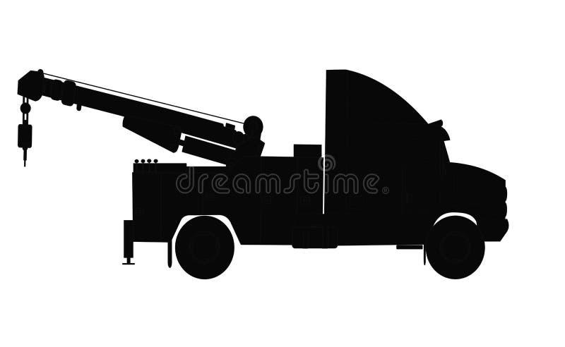Het op zwaar werk berekende silhouet van de slepenvrachtwagen stock illustratie